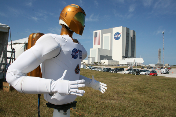 Robonaut 2A with the VAB in the background at KSC.