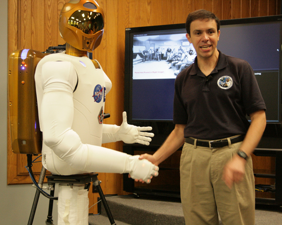 Robonaut 2A and Ron Diftler, NASA's R2 project manager.