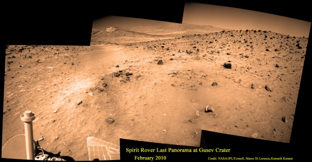 Photo 1: Spirit's Last Picture Show - for now. Spirit's final panoramic mosaic was taken on Sol 2175 in February 2010, a few weeks before entering hibernation mode in March 2010. Credit: NASA/JPL/Cornell, Marco Di Lorenzo, Kenneth Kremer
