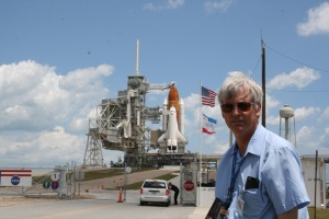 Ken Kremer and Space Shuttle Endeavour at Launch Pad 39 A at the Kennedy Space Center.    Credit: Ken Kremer