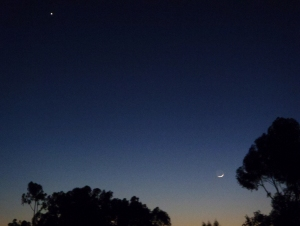 Moon looking up at Venus in San Diego, California. Captured by Ludy D'Angelo