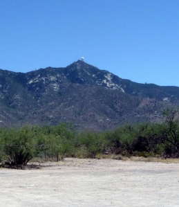 From the base of Kitt Peak, you can see the domes of the various telescopes along the ridgeline.