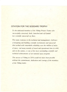 Goddard Trophy Citation