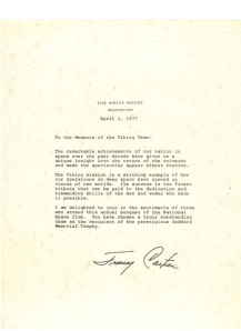 Goddard Trophy,  Letter from Jimmy Carter