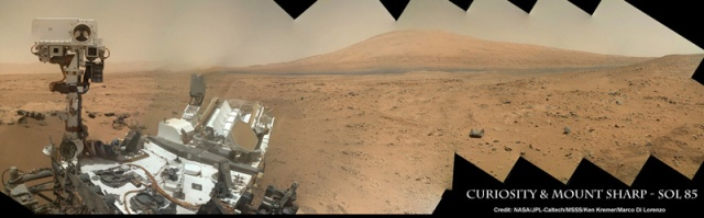 Curiosity Self Portrait with Mount Sharp in Gale Crater. Credit: NASA/JPL-Caltech/MSSS/Ken Kremer/Marco Di Lorenzo