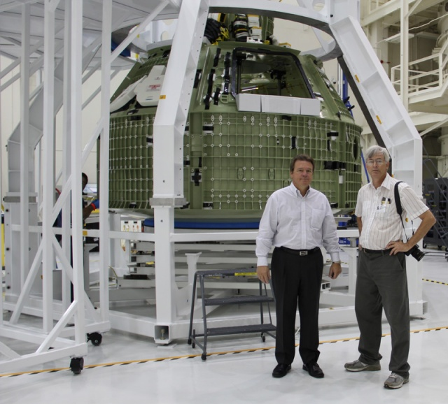 Dr. Kremer with Orion Space Capsule at Kennedy Space Center