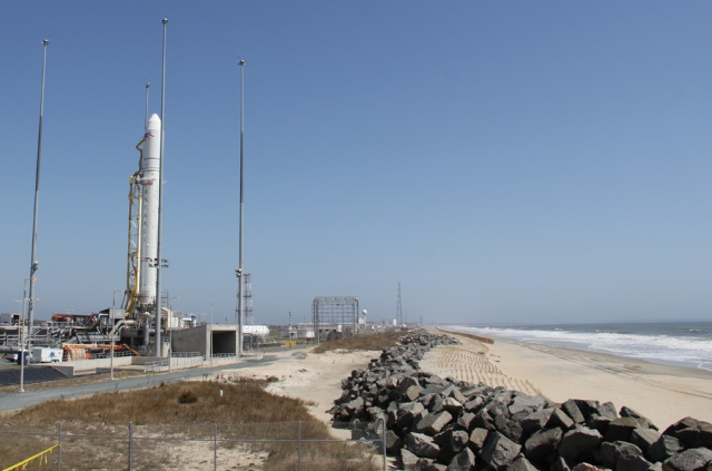 Antares rocket erected at Virginia's Eastern shore for maiden April 21 liftoff a few hundred feet from the Atlantic Ocean. Credit: Ken Kremer