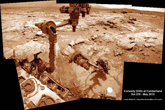 Time lapse mosaic shows Curiosity maneuvering robotic arm to drill into 2nd rock target named Cumberland on May 19, 2013 (Sol 279) for chemical sample analysis. Credit: NASA/JPL-Caltech/Ken Kremer/Marco Di Lorenzo