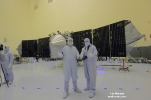 Bruce Jakosky and Ken Kremer stand before MAVEN Credit: Ken Kremer