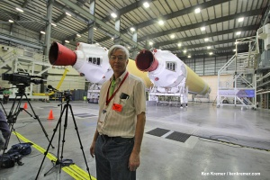 Delta IV Heavy boosters and Ken Kremer reporting from inside Space Launch Complex 37 at Cape Canaveral on NASA's upcoming Orion Exploration Flight Test-1 mission. Credit: Ken Kremer