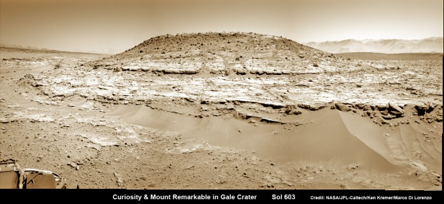 Curiosity's panoramic view of Mount Remarkable  where the rover conducted the third drill campaign on Mars. The raw images were taken on Sol 603, April 17, 2014, stitched and colorized.  Credit: NASA/JPL-Caltech/Ken Kremer/Marco Di Lorenzo.