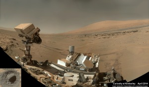 "Curiosity snaps selfie at Kimberley waypoint with towering Mount Sharp backdrop on April 27, 2014 (Sol 613). Inset shows rovers test drill operation on April 29, 2014 (Sol 615) into ""Windjama"" rock. Credit: NASA/JPL/MSSS/Marco Di Lorenzo/Ken Kremer"