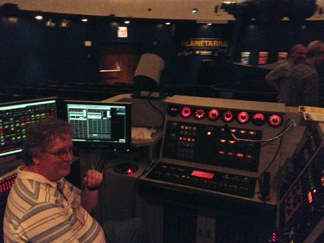 Bill Murray at the original analog control panel at the NJ State Planetarium