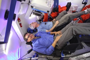 Boeing's CST-100 project engineer Tony Castilleja describes the capsule features with Ken Kremer seated inside full scale mockup at the Kennedy Space Center. Credit: Ken Kremer