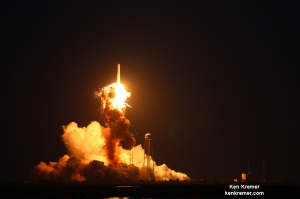 Base of Orbital Sciences' Antares rocket explodes moments after blastoff from NASA's Wallops Flight Facility, VA, on Oct. 28, 2014, at 6:22 p.m. Credit: Ken Kremer