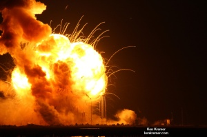 Orbital Sciences' Antares rocket explodes into an aerial fireball seconds after blastoff from NASA's Wallops Flight Facility, VA, on Oct. 28, 2014, at 6:22 p.m. Credit: Ken Kremer