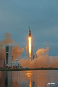 Orion spacecraft blasts off atop United Launch Alliance Delta 4 Heavy Booster at Space Launch Complex 37 at Cape Canaveral, Florida on Dec. 5, 2014.   Credit: Ken Kremer