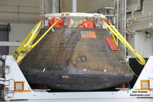 View of NASA's first Orion spacecraft after returning to the Kennedy Space Center in Florida on Dec. 19, 2014 after successful Dec. 5, 2014 blastoff.  Credit: Ken Kremer