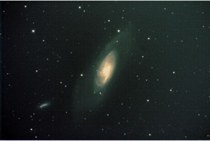 Messier-106, a Seyfert galaxy in Canes Venatici. Image taken by Rex Parker in Titusville NJ. Equipment: SXVR-M25C camera, AG Optical 12.5-inch Dall-Kirkham astrograph, Paramount-MX mount. Processed in Maxim DL v.5 and PS-CS5.