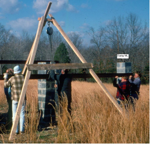 Erecting the Roof Beams at Washington-Crossing Observatory  Credit: Dick Perry