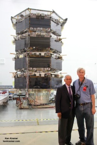 NASA Administrator Charles Bolden and Ken Kremer inspect NASA's Magnetospheric Multiscale (MMS) mated quartet of stacked spacecraft at the cleanroom at NASA's Goddard Space Flight Center in Greenbelt, Md., on May 12, 2014. Credit: Ken Kremer- kenkremer.com