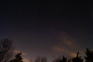 This picture of the Orion belt is taken in my backyard. The image was exposed for 30 seconds and an ISO of 1600.