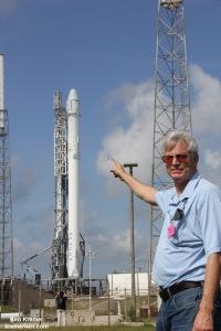 Ken Kremer and the SpaceX Falcon 9 rocket at Cape Canaveral prior to blastoff.   Credit: Ken Kremer/kenkremer.com