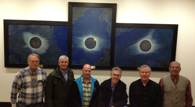 AAAP members visit the Princeton Firestone Library to view the Butler eclipse paintings Nov 10, from left: John Giles, Henry Kugel, Tony Coventry, Ira Polans, Rex Parker, Arshad Gilani