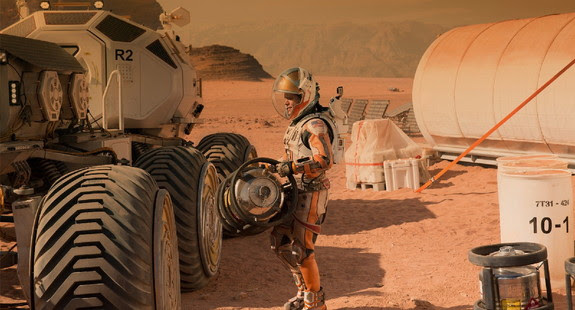 Actor Matt Damon portrays an astronaut stranded on Mars in the Martian.