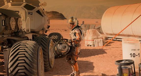 Actor Matt Damon portrays an astronaut stranded on Mars in the Martian.