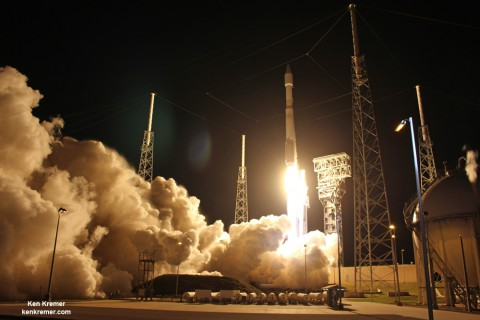 ULA Atlas V rocket carrying Orbital ATK CRS-6 Cygnus cargo spacecraft lifts from Space Launch Complex 41 at 11:05 p.m. on Mar. 22, 2016 from Cape Canaveral Air Force Station, Fla. Credit: Ken Kremer/kenkremer.com