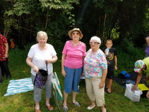 From L-R. Mary Lincoln (family friend) my mother Kathleen, Doloris Ramsey and Gene's grandson Logan in the back ground.
