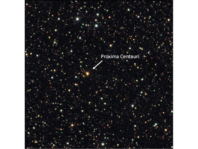 The red dwarf Proxima Centauri and surrounding star field. Width of field ~28 arc-min, about the size of the full moon. Alpha Centauri is out of the field ~2 degrees away. Image by RAParker using Skynet/PROMPT5