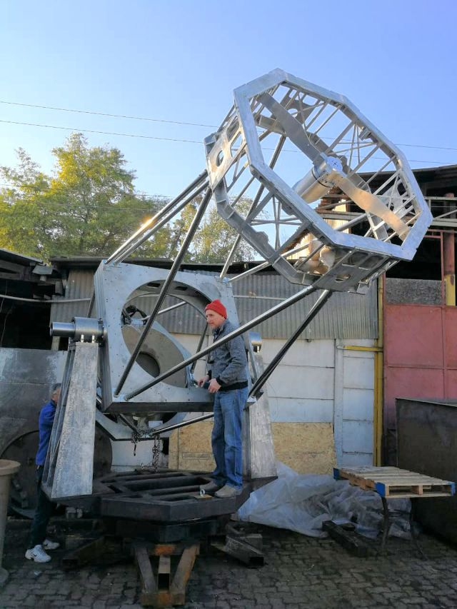 Alain Maury with his new 45 inch telescope.