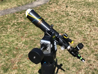"""AAAP's Outreach Telescope: Orion ED80 refractor complete with """"N95 Focus Mask"""" and Starlight Xpress Ultrastar Color Camera on iOptron AZM Pro mount."""